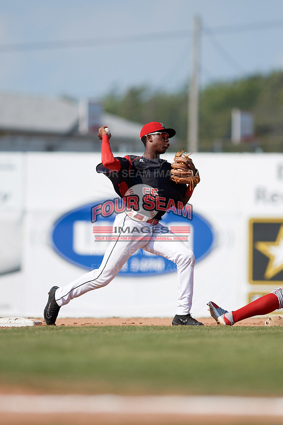 Batavia Muckdogs second baseman Demetrius Sims (55) throws to first base during the second game of a doubleheader against the Williamsport Crosscutters on August 20, 2017 at Dwyer Stadium in Batavia, New York.  Batavia defeated Williamsport 4-3.  (Mike Janes/Four Seam Images)