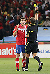 13 JUN 2010:  Aleksandar Lukovic (SRB)(13) receives his second yellow card which resulted in a red card and was sent out of the match.  The Serbia National Team played the Ghana National Team at Loftus Versfeld Stadium in Tshwane/Pretoria, South Africa in a 2010 FIFA World Cup Group D match.