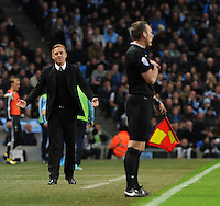 Picture: Andrew Roe/AHPIX LTD, Football, Barclays Premier League, Manchester City v Swansea City, 22/11/14, Etihad Stadium, K.O 3pm<br /> <br /> Swansea's manager Garry Monk complains to the linesman after a decision<br /> <br /> Andrew Roe>>>>>>>07826527594