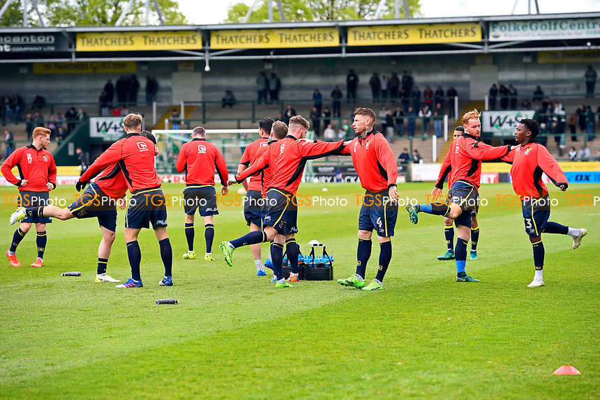 Stevenage players warm up during Yeovil Town vs Stevenage, Sky Bet EFL League 2 Football at Huish Park on 29th April 2017