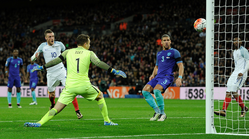 England?s Jamie Vardy scores the opening goal <br /> <br /> Photographer AshleyWestern/CameraSport<br /> <br /> Football - Breast Cancer Care International Friendly - England v Holland - Tuesday 29th March 2016 - Wembley Stadium - London<br /> <br /> &copy; CameraSport - 43 Linden Ave. Countesthorpe. Leicester. England. LE8 5PG - Tel: +44 (0) 116 277 4147 - admin@camerasport.com - www.camerasport.com
