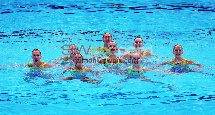 PICTURE BY VAUGHN RIDLEY/SWPIX.COM - Synchronised Swimming - 15th FINA World Championships 2013 - Palau Sant Jordi, Barcelona, Spain - 23/07/13 - Great Britain compete in the Team Free Preliminary.