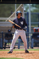 GCL Yankees East left fielder Alexander Santana (31) at bat during a game against the GCL Yankees West on August 8, 2018 at Yankee Complex in Tampa, Florida.  GCL Yankees West defeated GCL Yankees East 8-4.  (Mike Janes/Four Seam Images)