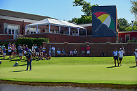 Jon Rahm (ESP) watches his putt on 16 with Arnold Palmer's logo umbrella hanging in the background during the round 1 of the Dean &amp; Deluca Invitational, at The Colonial, Ft. Worth, Texas, USA. 5/25/2017.<br /> Picture: Golffile | Ken Murray<br /> <br /> <br /> All photo usage must carry mandatory copyright credit (&copy; Golffile | Ken Murray)