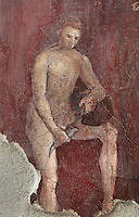 Fresco decoration of a satyr pouring wine into a horn, on the South wall of the Frigidarium or cold pool of the baths in the Casa del Criptoportico, or House of the Cryptoporticus, Pompeii, Italy. This room is decorated in the Second Style of Pompeiian wall painting, 1st century BC. The house is one of the largest in Pompeii and was owned by the Valerii Rufi family and built in the 3rd century BC. It takes its name from the underground corridor or cryptoporticus used as a wine cellar and lit by small windows. Pompeii is a Roman town which was destroyed and buried under 4-6 m of volcanic ash in the eruption of Mount Vesuvius in 79 AD. Buildings and artefacts were preserved in the ash and have been excavated and restored. Pompeii is listed as a UNESCO World Heritage Site. Picture by Manuel Cohen