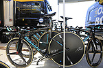 Team LottoNL-Jumbo Colnago bikes lined up at the team bus before Stage 1 of the La Vuelta 2018, an individual time trial of 8km running around Malaga city centre, Spain. 25th August 2018.<br /> Picture: Eoin Clarke | Cyclefile<br /> <br /> <br /> All photos usage must carry mandatory copyright credit (© Cyclefile | Eoin Clarke)