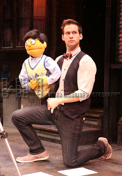 Jed Resnick & Princeton - The cast of 'Avenue Q' celebrating their 3rd Anniversary Off-Broadway ad filming a PSA in support of the Public Broadcasting System at The World Stages on 10/22/2012 in New York City.