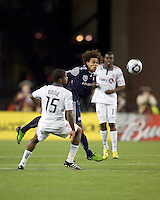 New England Revolution defender Kevin Alston (30) battles for head ball. The New England Revolution defeated Toronto FC, 4-1, at Gillette Stadium on April 10, 2010.