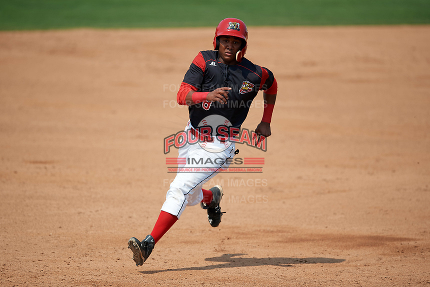Batavia Muckdogs shortstop Marcos Rivera (8) running the bases during the first game of a doubleheader against the Mahoning Valley Scrappers on September 4, 2017 at Dwyer Stadium in Batavia, New York.  Mahoning Valley defeated Batavia 4-3.  (Mike Janes/Four Seam Images)