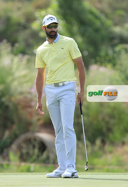 Alvaro Quiros (ESP) on the 6th green during the Pro-Am of the Open de Espana  in Club de Golf el Prat, Barcelona on Wednesday 13th May 2015.<br /> Picture:  Thos Caffrey / www.golffile.ie