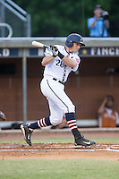 Jake Maziar (28) of the High Point-Thomasville HiToms follows through on his swing against the Asheboro Copperheads at Finch Field on June 12, 2015 in Thomasville, North Carolina.  The HiToms defeated the Copperheads 12-3. (Brian Westerholt/Four Seam Images)