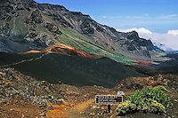The wilderness landscape of the crater in HALEAKALA NATIONAL PARK on Maui in Hawaii is home to many cinder cones and hiking trails