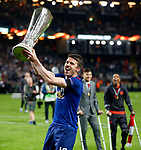 Michael Carrick of Manchester United celebrates with the trophy after the UEFA Europa League Final match at the Friends Arena, Stockholm. Picture date: May 24th, 2017.Picture credit should read: Matt McNulty/Sportimage