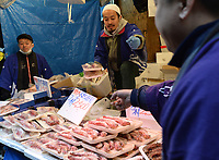 King prawns for sale in Ameyoko Market in Ueno district of Tokyo, Japan, New Year's Eve.  People buy fresh seafood for their New Year's feast to celebrate the coming of the New Year.   Picture by Richard Jones