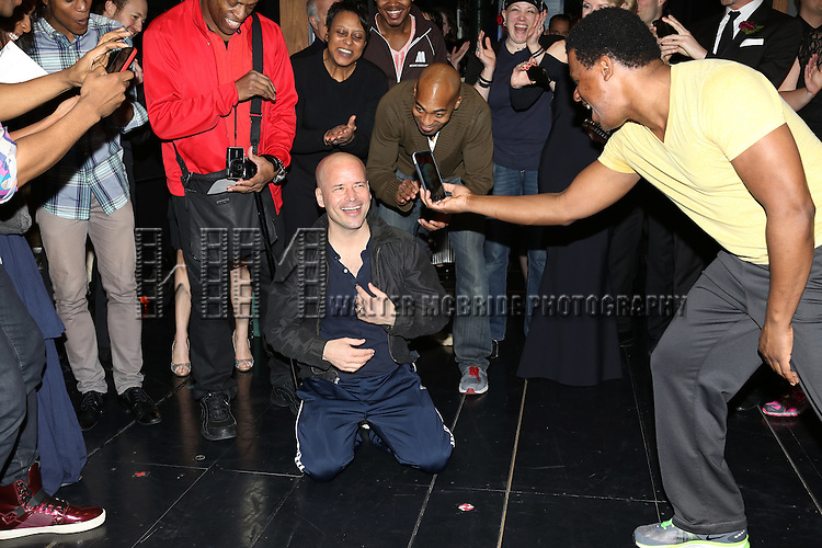 Michael Arnold with Brandon Victor Dixon & Company attending the Broadway Opening Night Gypsy Robe Ceremony for 'Motown The Musical' honoring Michael Arnold at the Lunt Fontanne Theatre in New York City on 4/14/201