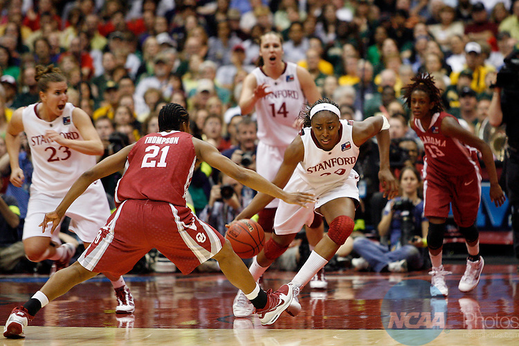 04 APR 2010:  Nnemkadi Ogwumike (30) of Stanford University tries to run out the clock against the University of Oklahoma during the Division I Women's Basketball Semifinals held at the Alamodome during the 2010 Women's Final Four in San Antonio, TX.  Stanford defeated Oklahoma 73-66 to advance to the finals.  Jamie Schwaberow/NCAA Photos