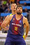 XXXVIII Lliga Nacional Catalana ACB 2017.<br /> FC Barcelona Lassa vs BC Morabanc Andorra: 89-70.<br /> Colton Iverson vs Pierre Oriola.