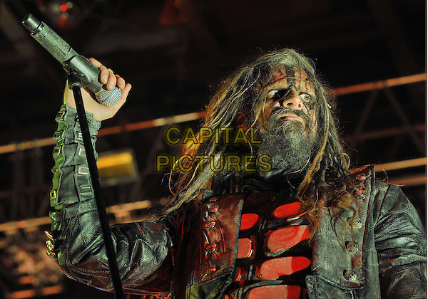"Vocalist ROB ZOMBIE performs on a stop on his ""Hell On Earth Tour 2011"" held at the Stage AE, Pittsburgh, PA, USA..July 23rd, 2011                               .stage concert live gig performance music half length black leather jacket red beard facial hair dreadlocks hair .CAP/ADM/JN.©Jason L Nelson/AdMedia/Capital Pictures."