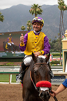 ARCADIA, CA  JUNE 16: Kent Desormeaux gives a thumbs up after he and Ollie's Candy win the Summertime Oaks (Grade ll) on June 16, 2018 at Santa Anita Park in Arcadia, CA. (Photo by Casey Phillips/Eclipse Sportswire/Getty Images)
