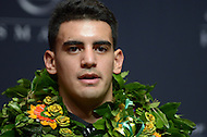New York, NY - December 13, 2014: Hawaiian born Marcus Mariota, representing the Univeristy of Oregon, speaks during a news conference at the New York Marriott Marquis after winning the Heisman Trophy. Mariota held a passing efficiency of 186.3, completing 254 of his 372 passes for 3,783 yards and 38 touchdowns.  (Photo by Don Baxter/Media Images International)