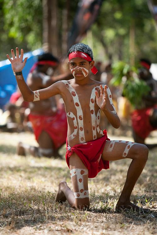 Indigenous performer at the Laura Aboriginal Dance Festival.  Laura, Queensland, Australia