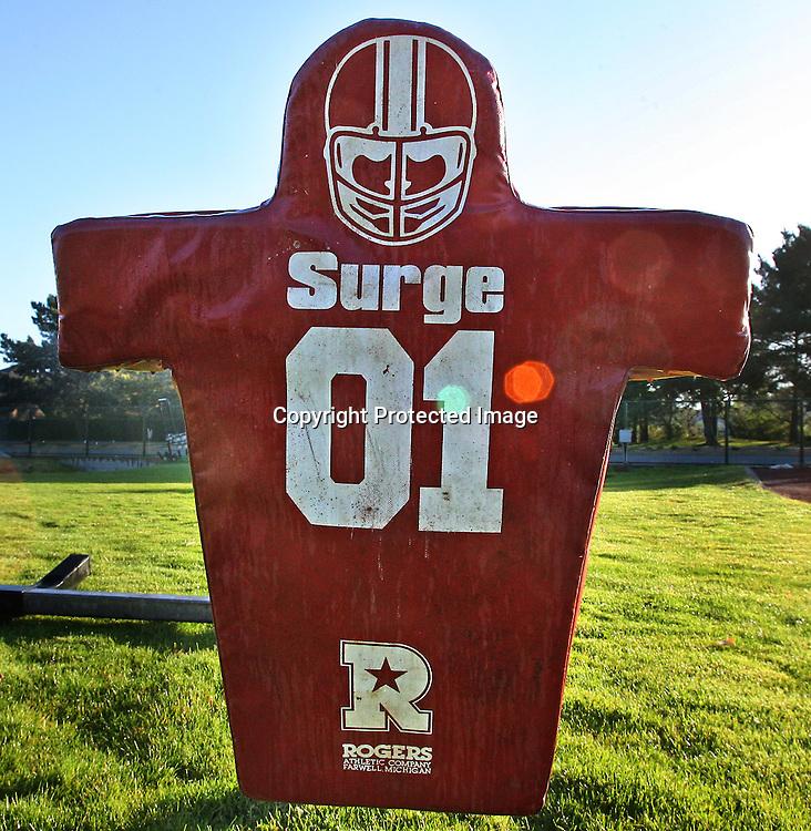 Football dummy on a high school grounds in California.