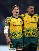 Michael Hooper of Australia sings his national anthem. Quilter International match between England and Australia on November 24, 2018 at Twickenham Stadium in London, England. Photo by: Patrick Khachfe / Onside Images