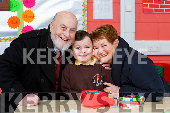 Carter Keogh with his grandparents Edward and Anna at Lissivigeen NS grandparents day on Wednesday