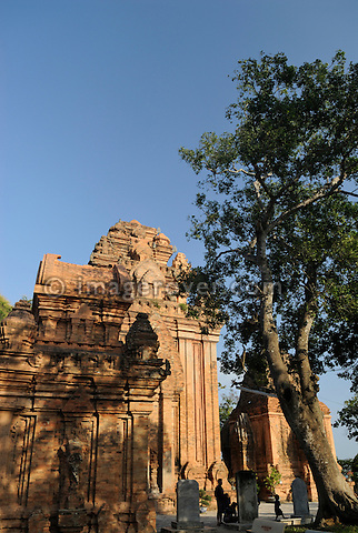 Asia, Vietnam, Nha Trang. Po Nagar Cham Towers. The Cham Towers dating back to the 7-12 century are located just north of the city centre at the mouth of the Cai River.