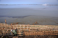 Workers erecting a rattan fence to be filled with stone and earth, part of a dam being strengthened against the rising tide of mud flow (the centre of which can be seen as the rising cloud of steam in the distance). Since May 2006, more than 10,000 people in the Porong subdistrict of Sidoarjo have been displaced by hot mud flowing from a natural gas well that was being drilled by the oil company Lapindo Brantas. The torrent of mud - up to 125,000 cubic metres per day - continued to flow three years later.