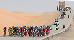 The start of Stage 1, The ADNOC Stage, of the 2015 Abu Dhabi Tour running 174 km through the Rub al Khali desert at Qasr Al Sarab to Madinat Zayed, Abu Dhabi. 8th October 2015.<br /> Picture: ANSA/Claudio Peri | Newsfile