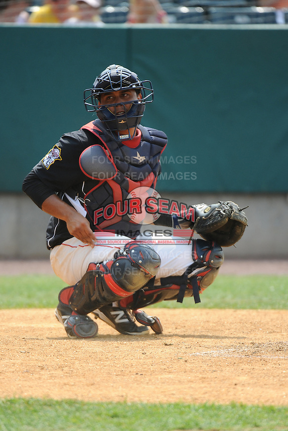 New Britain Rock Cats catcher Jairo Rodriguez (11) during game against the Reading Fightin Phils  at New Britain Stadium on July 13, 2014 in New Britain, CT. Reading defeated New Britain 6-4.  (Tomasso DeRosa/Four Seam Images)
