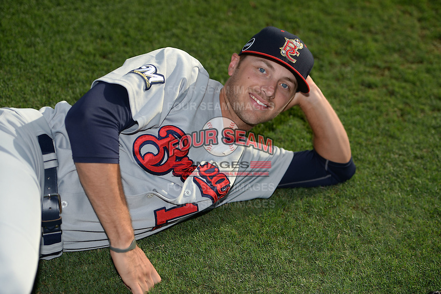 Brevard County Manatees pitcher Scott Lieser (15) jokingly poses for a photo before a game against the Dunedin Blue Jays on April 23, 2015 at Florida Auto Exchange Stadium in Dunedin, Florida.  Brevard County defeated Dunedin 10-6.  (Mike Janes/Four Seam Images)