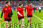 Sean Roche, Kieran Courtney, and Jeremiah Hoare Glenbeigh Glencar players celebrate their victory over Rock Saint Patricks in the Junior Football All Ireland Final in Croke Park on Sunday.