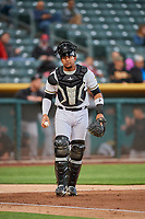 Jose Briceno (10) of the Salt Lake Bees on defense against the Sacramento River Cats at Smith's Ballpark on April 19, 2018 in Salt Lake City, Utah. Salt Lake defeated Sacramento 10-7. (Stephen Smith/Four Seam Images)