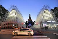 - Milano, Expo Gate, padiglione infopoint in piazza Castello per l&rsquo;Esposizione Universale 2015.<br /> <br /> - Milan Expo Gate, info point in Castle Square for the World Exposition 2015.