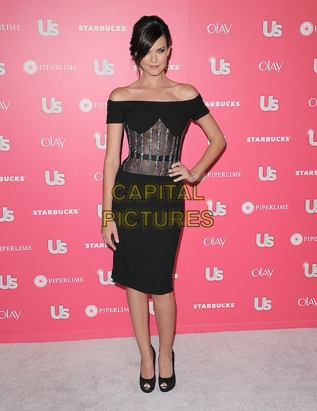 ODETTE ANNABLE (nee YUSTMAN).at US Weekly Hot Hollywood Style Issue Party held at Eden in Hollywood, California, USA, April 26th 2011..full length dress sheer see thru through hand on hip peep toe shoes black off the shoulders diamante mesh .CAP/RKE/DVS.©DVS/RockinExposures/Capital Pictures.