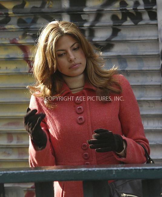 WWW.ACEPIXS.COM . . . . .  ....NEW YORK, DECEMBER 8, 2004....Eva Mendes on the set of 'Trust the Man.'....Please byline: Ian Wingfield - ACE PICTURES..... *** ***..Ace Pictures, Inc:  ..Alecsey Boldeskul (646) 267-6913 ..Philip Vaughan (646) 769-0430..e-mail: info@acepixs.com..web: http://www.acepixs.com