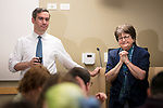 "Scott Moringiello, assistant professor of Catholic Studies, introduces activist, author and anti-death penalty crusader Sister Helen Prejean, C.S.J., during a breakfast Wednesday, April 19, 2017, at DePaul University's Lincoln Park Campus. Prejean is the author of the widely acclaimed book ""Dead Man Walking"" and is known for her work as an educator about the death penalty and counselor for death row inmates.The event was hosted by the Department of Catholic Studies. (DePaul University/Jeff Carrion)"