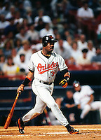 Eddie Murray of the Baltimore Orioles at Anaheim Stadium in Anaheim,California during the 1996 season. (Larry Goren/Four Seam Images)