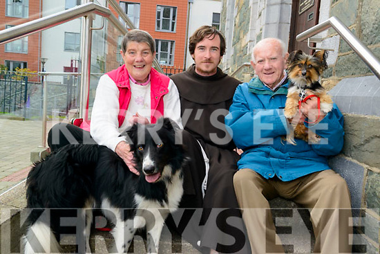 Brother Dariagh Quinn pictured with Mary and Seamus O'Sullivan Darcy from Killarney and their two dogs Sam and Ruby at the Animals Blessing in the Franciscans Friary Church, Killarney last Sunday.