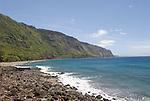Hawaii: Molokai, scenic view of cliffs and ocean from Kalaupapa..Photo himolo121-72291.Photo copyright Lee Foster, www.fostertravel.com, lee@fostertravel.com, 510-549-2202