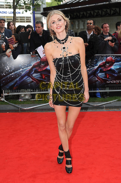 Donna Air.'The Amazing Spider-Man' UK film premiere, Odeon Leicester Square cinema, London, England..June 18th, 2012.full length black dress strapless necklace silver chains web spider beads beaded ankle strap sandals straps shoes  .CAP/BEL.©Tom Belcher/Capital Pictures.
