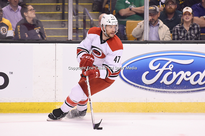 Thursday, March 10, 2016: Carolina Hurricanes defenseman Michal Jordan (47) in game action during the National Hockey League game between the Carolina Hurricanes and the Boston Bruins held at TD Garden, in Boston, Massachusetts. Carolina beats Boston 3-2 in overtime. Eric Canha/CSM