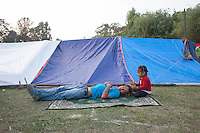 Thousands of people in Nepal have arranged  shelter camps away from the rubble following the second earthquake shock. A 7.3 magnitude earthquake killed at least 37 people and spread panic in Nepal on Tuesday, bringing down buildings already weakened by a devastating tremor less than three weeks ago and unleashing landslides in Himalayan valleys near Mount Everest. Kathmandu, Nepal. May 13, 2015