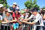 Jonathan Castroviejo (ESP) Team Sky with fans at sign on before the start of Stage 4 of the 2018 Tour de France running 195km from La Baule to Sarzeau, France. 10th July 2018. <br /> Picture: ASO/Alex Broadway | Cyclefile<br /> All photos usage must carry mandatory copyright credit (&copy; Cyclefile | ASO/Alex Broadway)