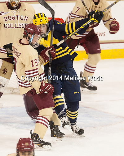 Ryan Fitzgerald (BC - 19), Max Shuart (Michigan - 25) - The Boston College Eagles defeated the visiting University of Michigan Wolverines 5-1 (EN) on Saturday, December 13, 2014, at Kelley Rink in Conte Forum in Chestnut Hill, Massachusetts.
