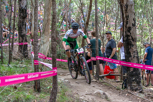 12th April 2018, Nerang Mountain Bike Trails, Gold Coast, Australia; Commonwealth Games day 8; Phetetso Monese (LES) during the Men's Cross-country Mountain Bike Race