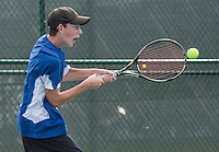 STAFF PHOTO ANTHONY REYES &bull; @NWATONYR<br /> Jack Vaughn, of Rogers, returns a volley during the 7A-West Conference boys tennis tournament Wednesday, Oct. 8, 2014 at the Springdale Har-Ber tennis courts.