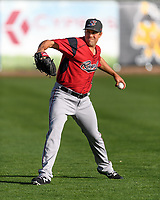 Sacramento River Cats starting pitcher Michael Roth (38) warms up in the outfield before the game against the Salt Lake Bees in Pacific Coast League action at Smith's Ballpark on April 13, 2017 in Salt Lake City, Utah.  (Stephen Smith/Four Seam Images)